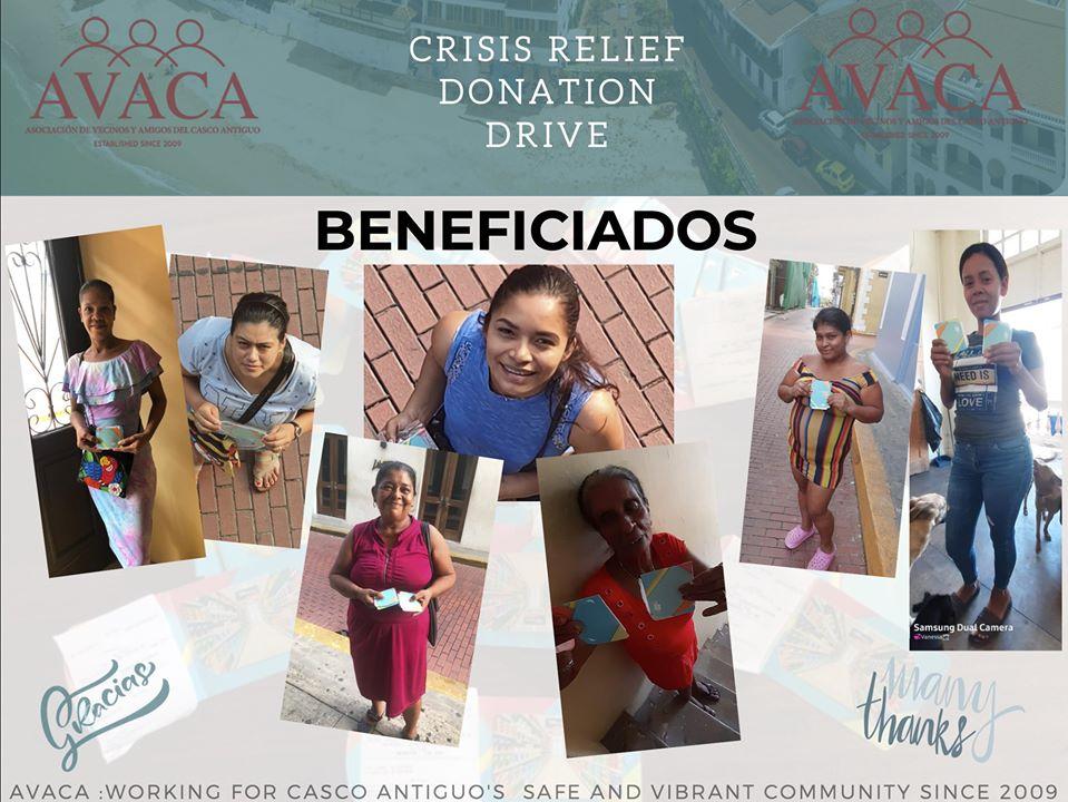 Residentes de Casco Viejo que recibieron ayuda con certificados de alimentos