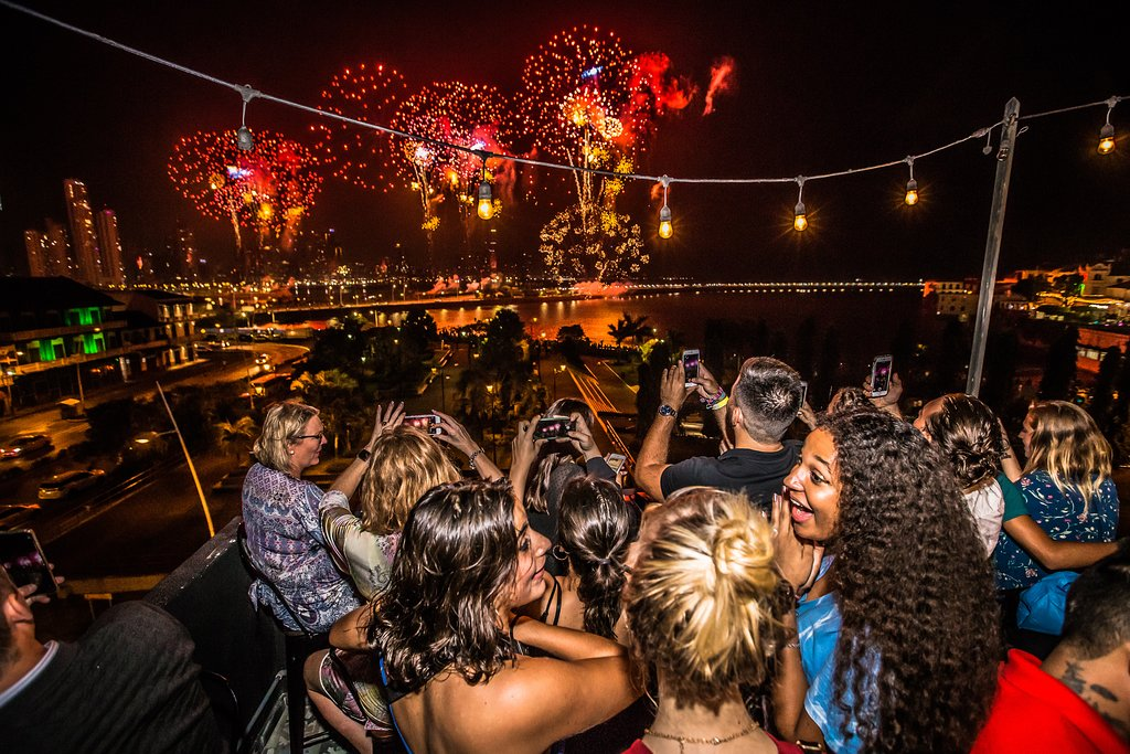 The rooftop offers great views of Panama City, especially to see fireworks