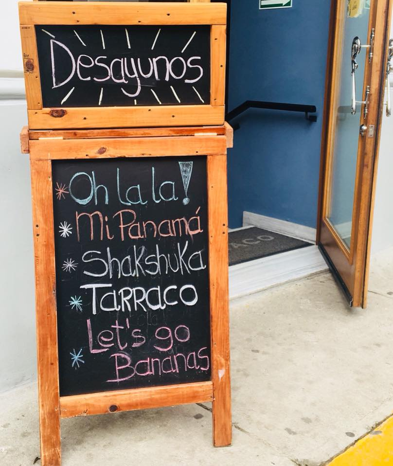 La Concordia Hotel is open for breakfast, sign shows options