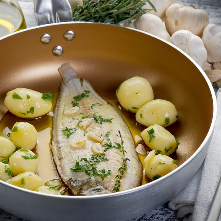 sole, is a very fresh fish, accompanied with potatoes and herbs
