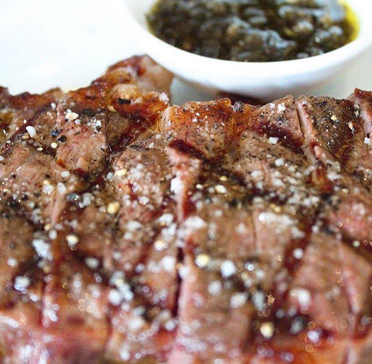 Grilled meat with chimichurri at Santa Rita restaurant casco viejo