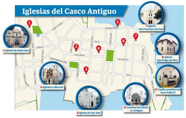 Mapa de las Iglesias en Casco Viejo cortesía de Panamá América