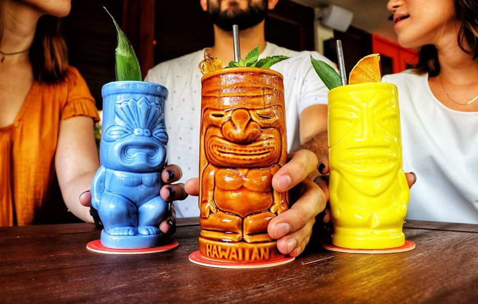 Tiki glasses in all colors at Pedro Mandinga Rum Bar