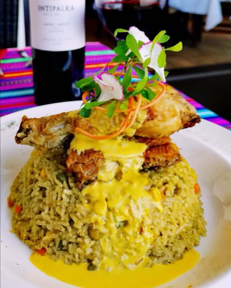 Peruvian-style chicken rice using grandma's recipe at the Nazca 21 restaurant