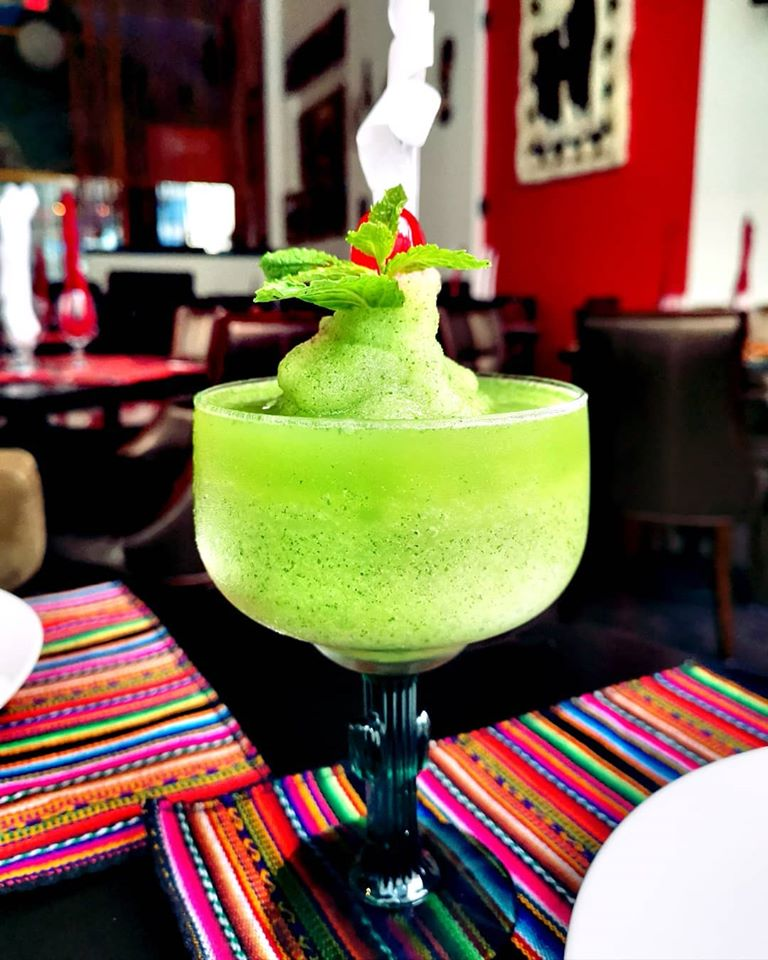 Daiquiri of frozen passion fruit with fresh mint from the restaurant Nazca 21
