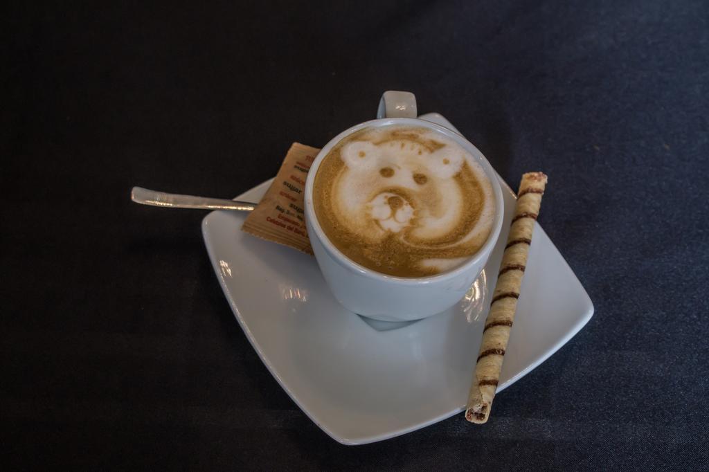 Capuchino con un diseño de oso en la Casa Sucre Coffeehouse