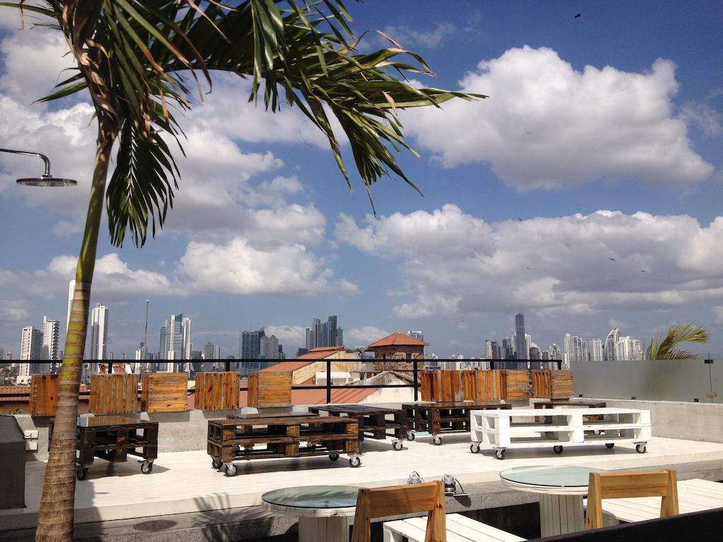 Views of Panama City from Gatto Blanco Rooftop Bar  during the day