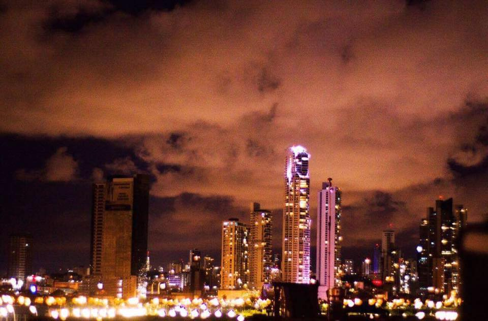 Views of Panama City and Cinta Costera from Gatto Blanco Rooftop Bar at night