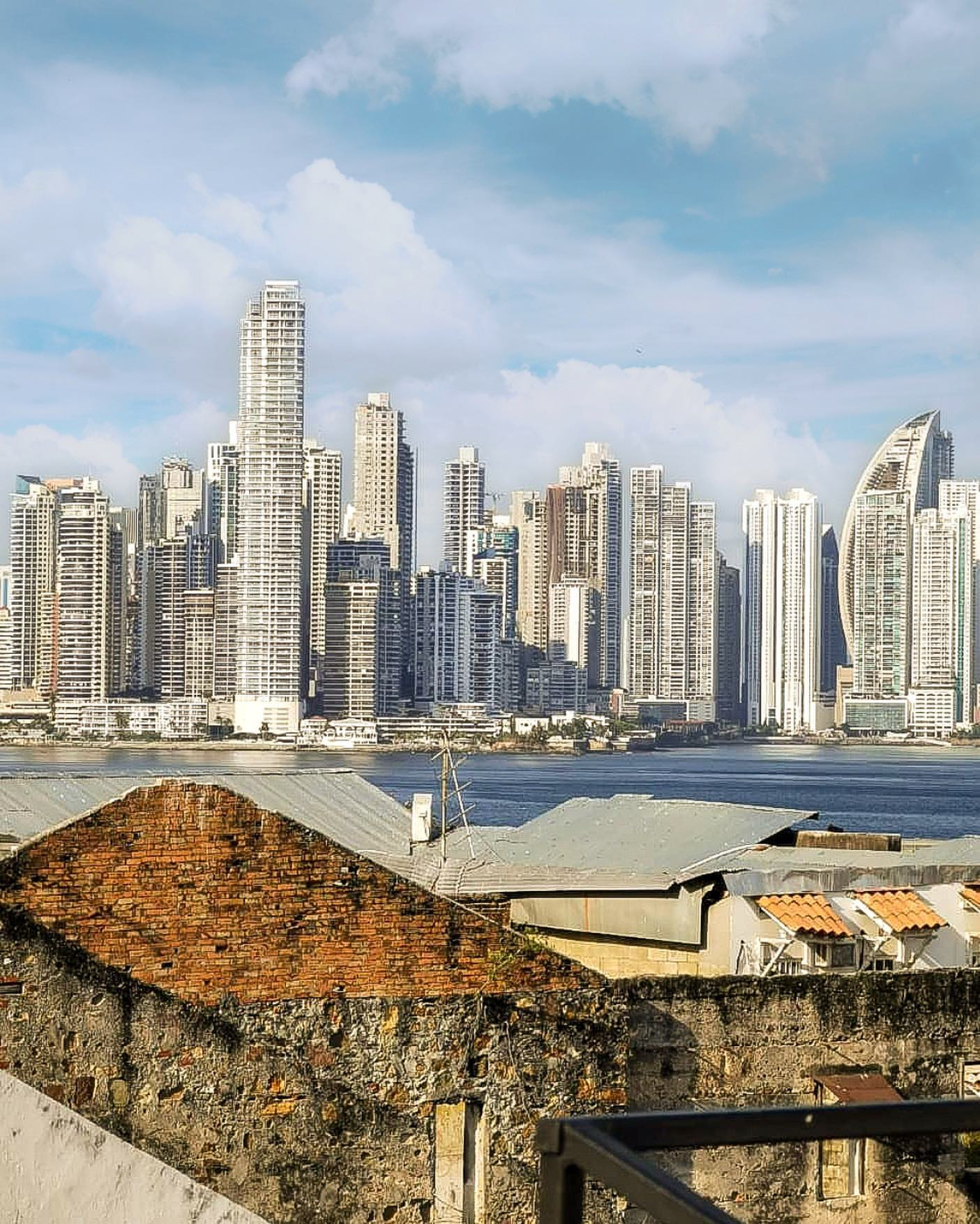 view of modern panama city at day from  Gatto Blanco Party Hotel