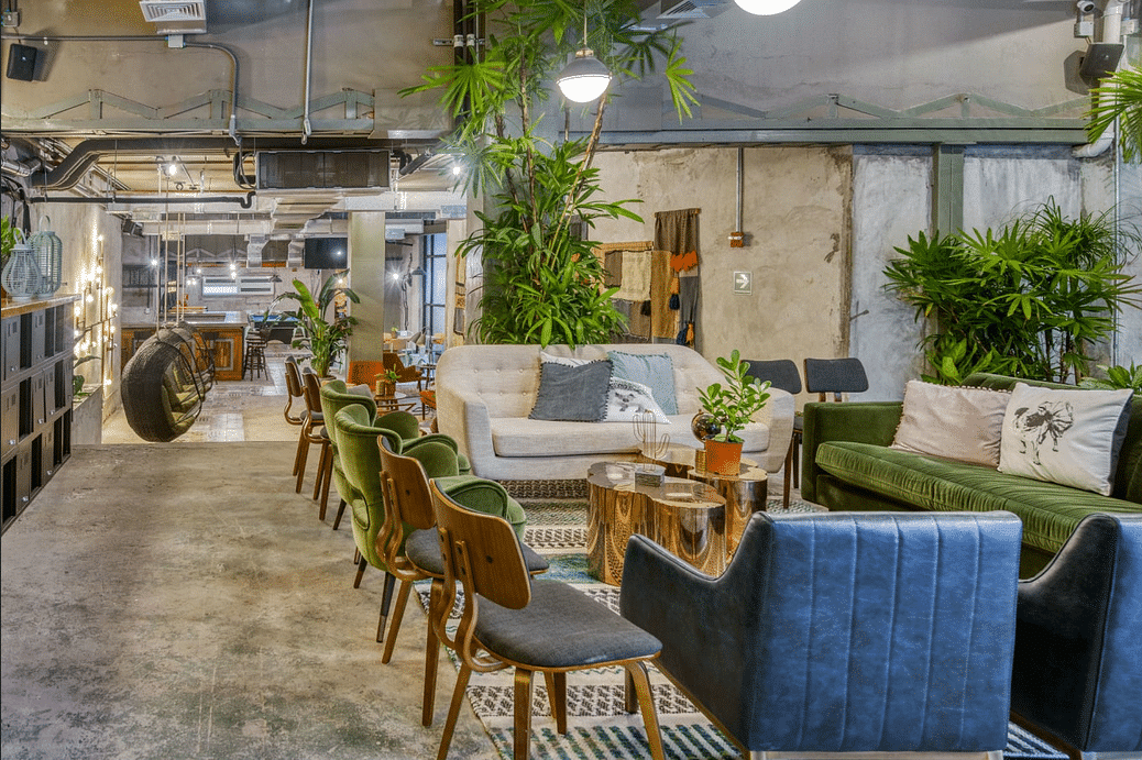 coworking space of Selina Casco Viejo with chairs and sofas