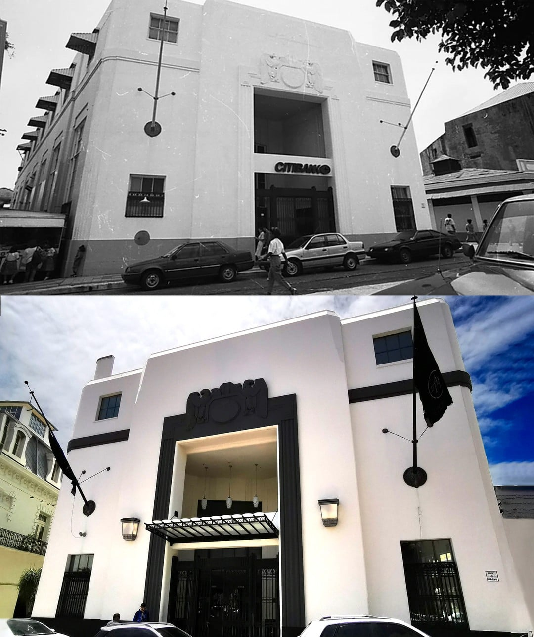 Before and after restoration of the American Trade Hall which used to be Citi Bank Panama
