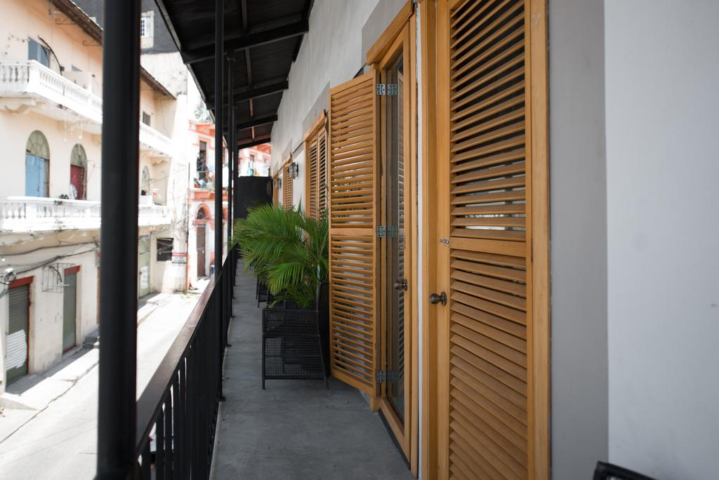 Some of the rooms at hotel casa panama have balconies that look to the side street or towards the bay of Panama