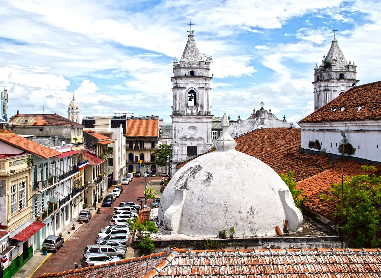 Gorgeous views of the cathedral and the old quarter of Panama City
