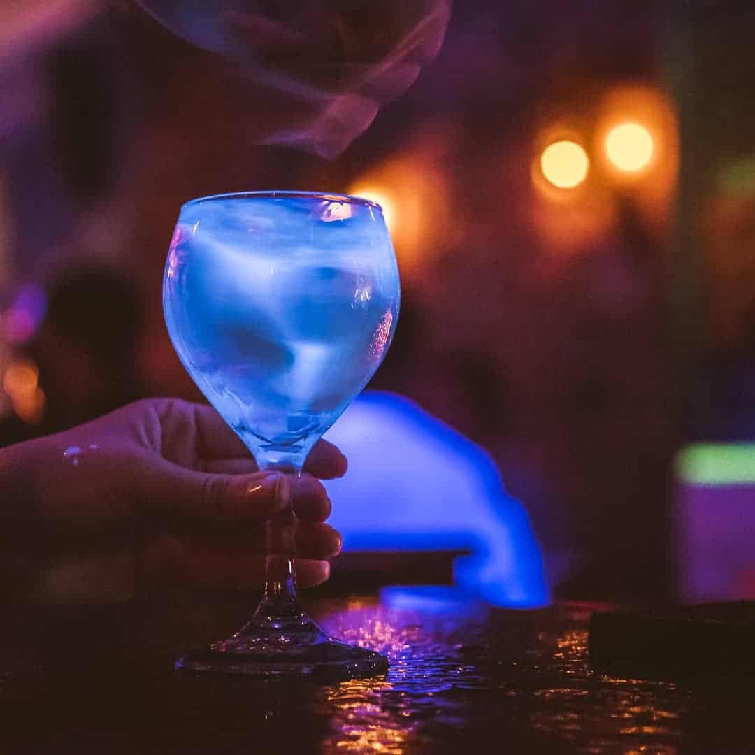 blue cocktail at Relic Bar Casco Viejo