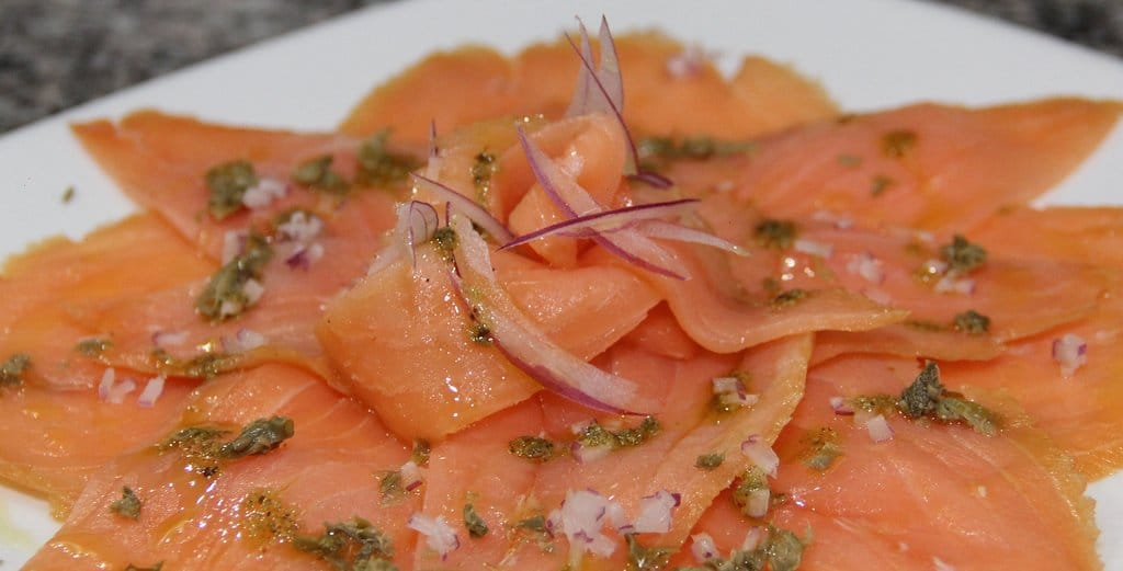 salmon carpaccio at Coliseum Roma Restaurant