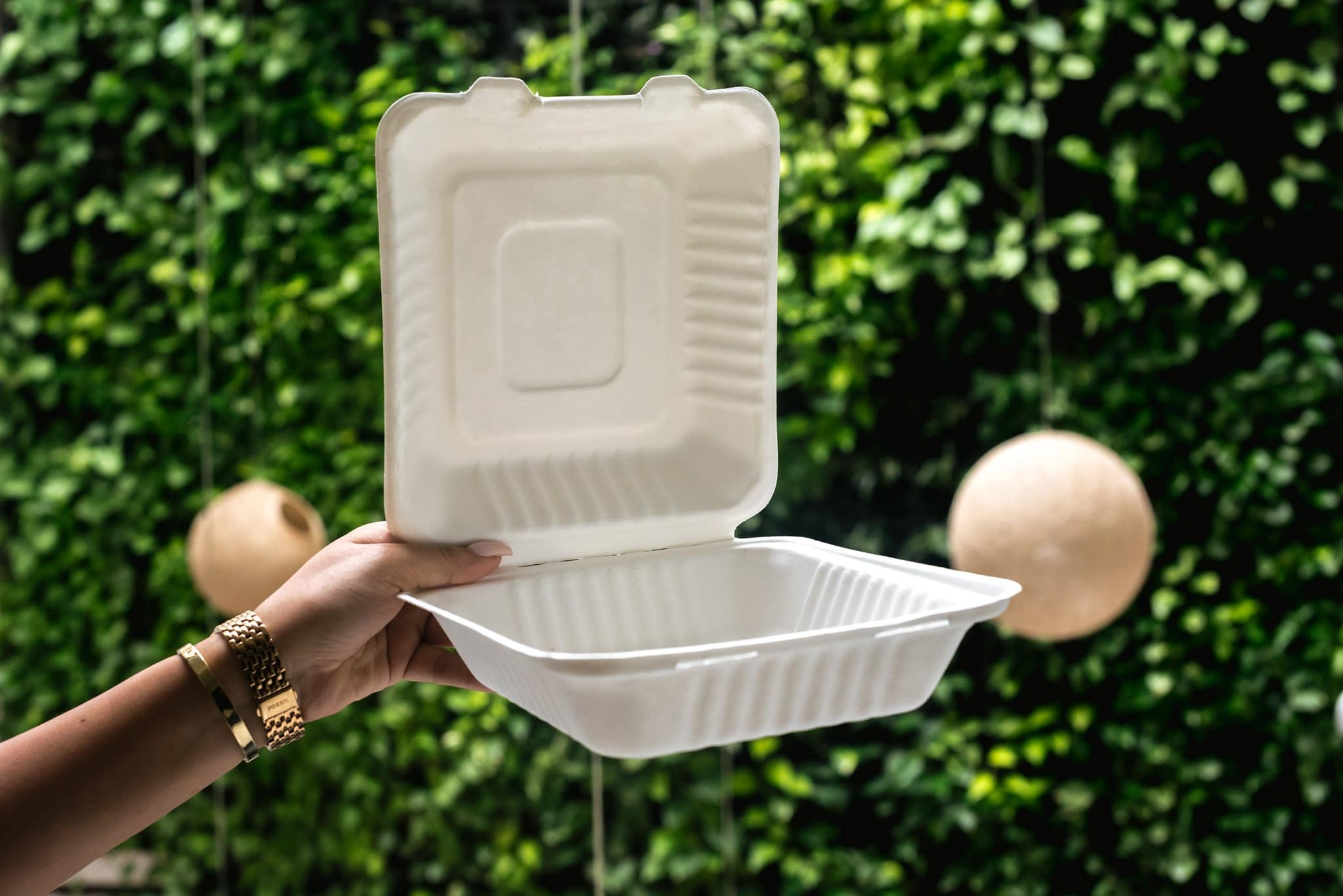 Tantalo Kitchen utiliza contenedores biodegradables para la entrega.