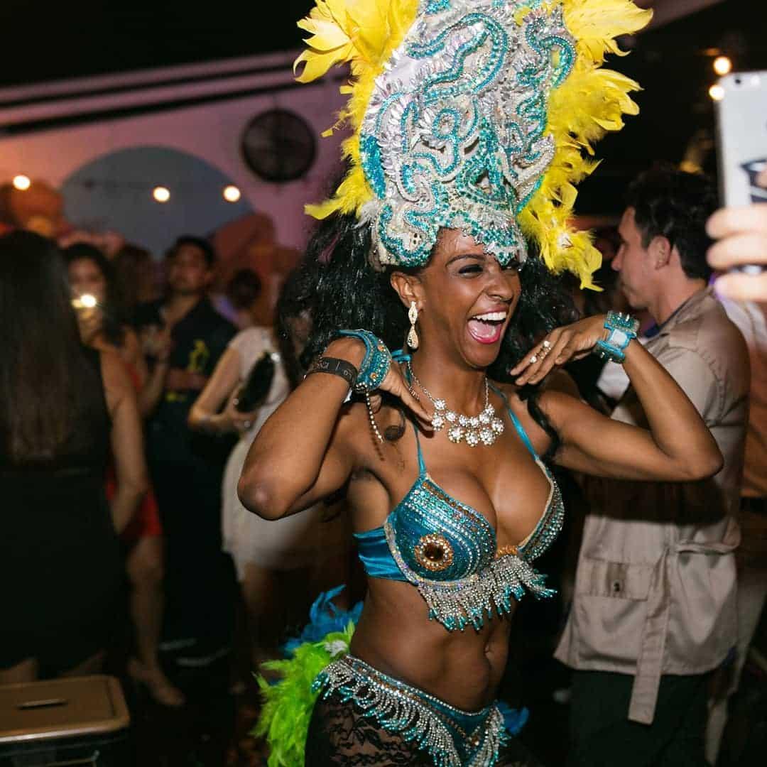 Samba and carnival dancers at Tantalo Rooftop Bar