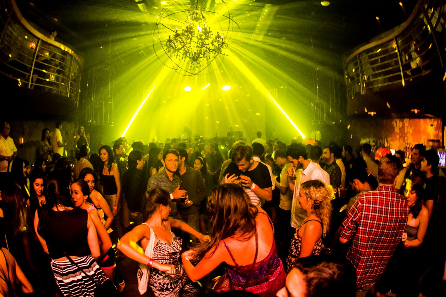 main dance floor with disco lights at teatro amador panama